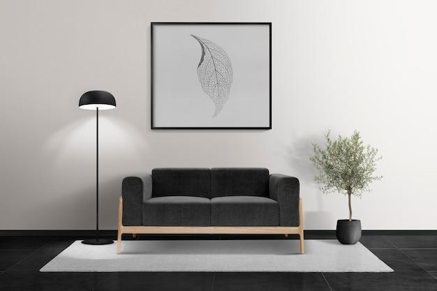 Maquete psd de moldura de foto pendurada em uma sala de estar moderna