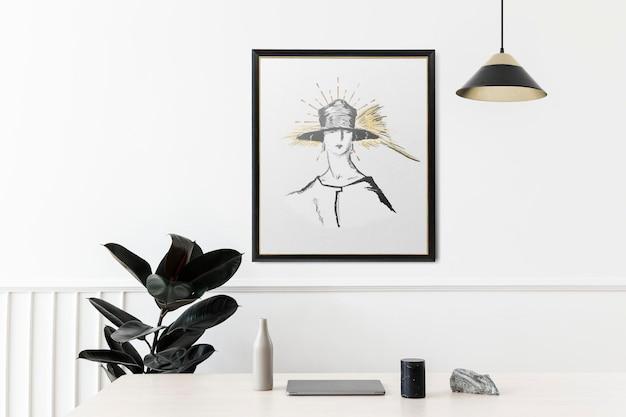 Maquete psd de porta-retratos com ilustração feminina remix das obras de porter woodruff