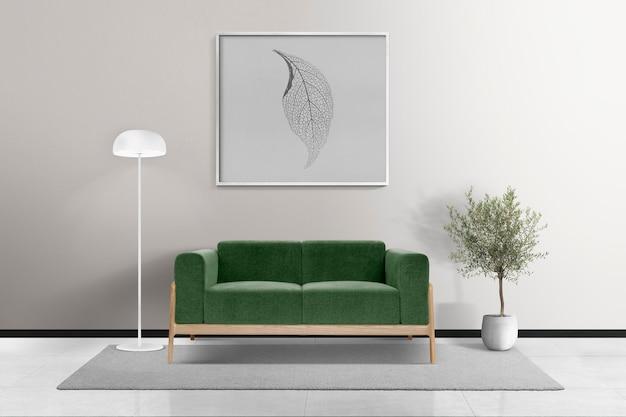 Maquete psd de porta-retratos pendurado em uma sala de estar moderna