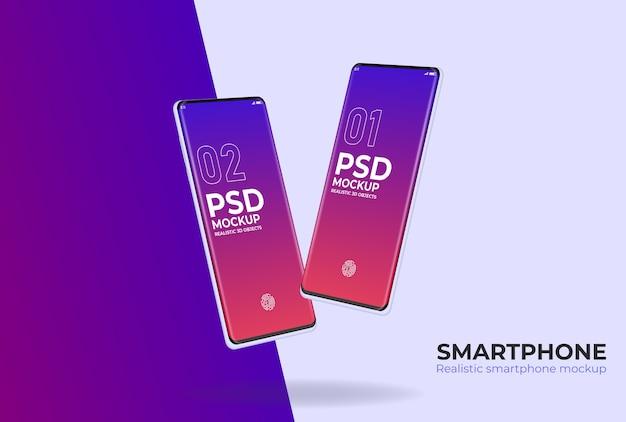Maquete psd de smartphone realista para apresentação do projeto