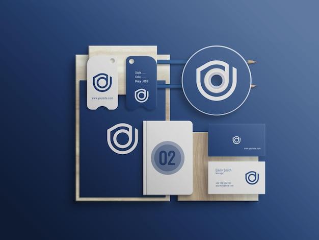 Maquete psd premium do blue stationery set