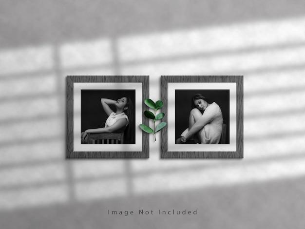 Maquete quadrada da moldura da foto na parede branca e sobreposição de sombra