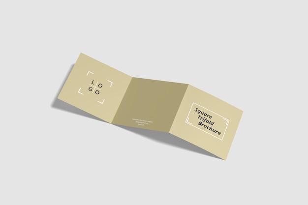 Maquete quadrada de brochura com três dobras em renderização 3d