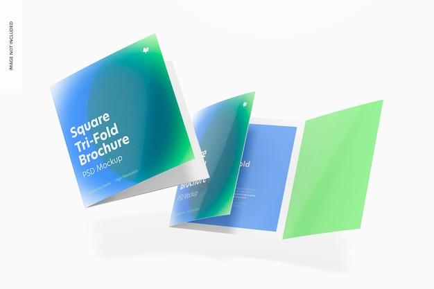Maquete quadrada de brochuras com três dobras, caindo