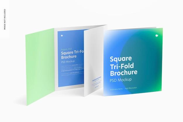 Maquete quadrada de brochuras com três dobras