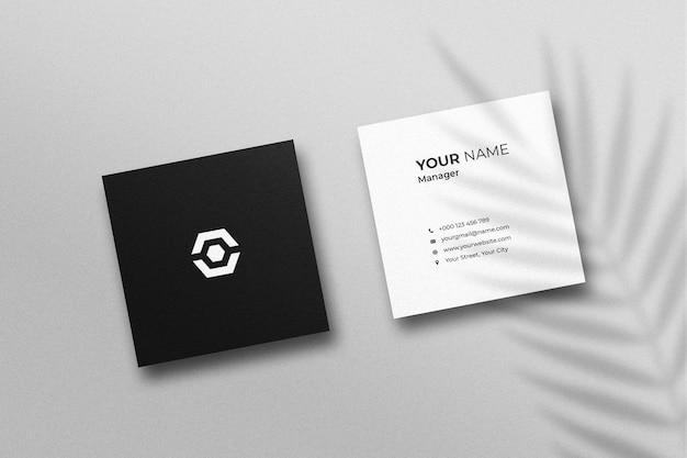 Maquete quadrada de cartão de visita com sombra