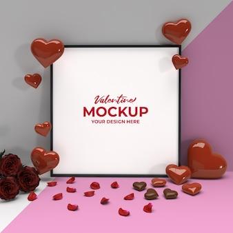 Maquete quadrada de dia dos namorados romântico com pétalas de rosa em forma de coração e chocolate