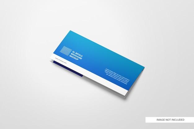 Maquete quadrada de folheto com três dobras