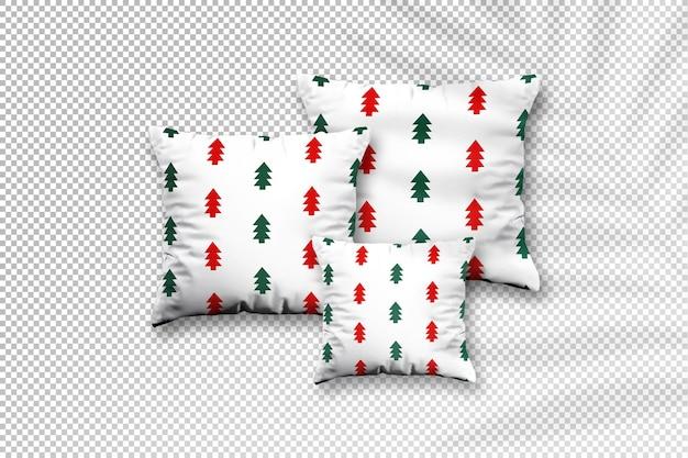 Maquete quadrada de travesseiro com desenho de natal e sombra de folhas de palmeira