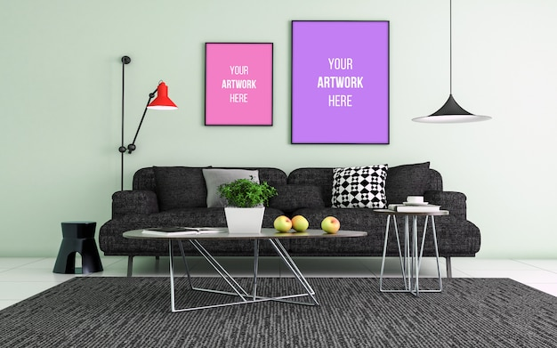 Maquete realista 3d da sala interior