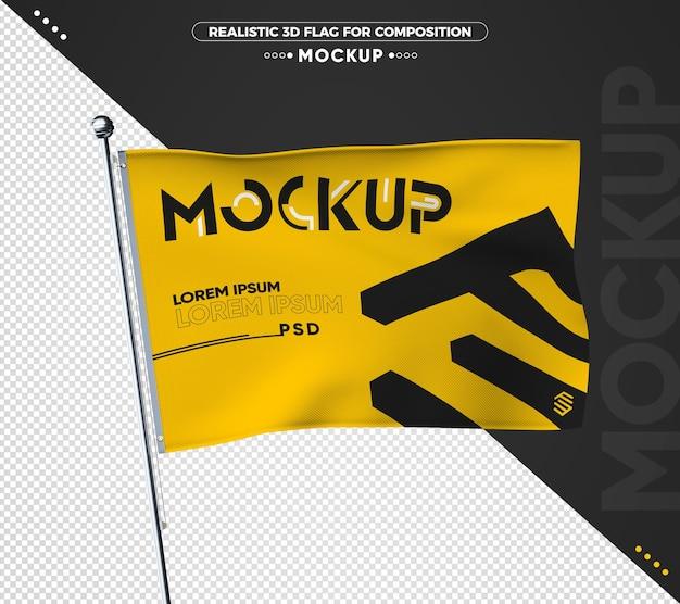 Maquete realista da bandeira 3d para composição