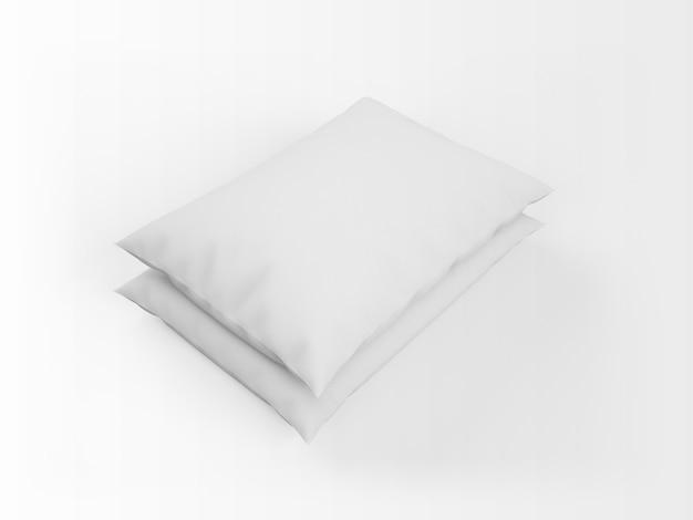 Maquete realista de almofadas brancas