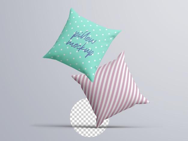 Maquete realista de almofadas de tecido flutuante