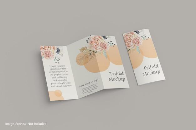 Maquete realista de brochura a4 com três dobras, renderização em 3d