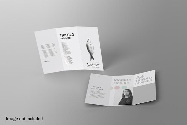 Maquete realista de brochura com três dobras com vista de ângulo superior
