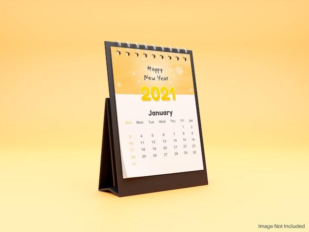 Maquete realista de calendário de mesa em espiral em pé