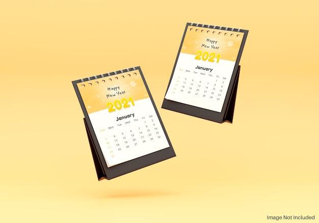 Maquete realista de calendário de mesa flutuante