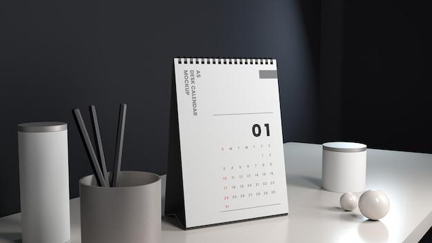 Maquete realista de calendário de mesa vertical com fundo escuro