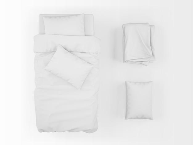 Maquete realista de cama, edredom e travesseiro na vista superior