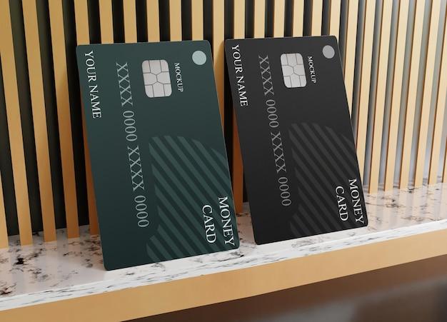 Maquete realista de cartão de débito em plástico