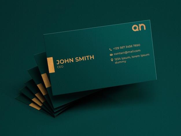 Maquete realista de cartões de visita com efeito folha de ouro