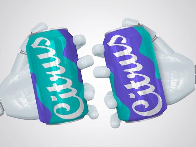 Maquete realista de duas latas de refrigerante segurando à mão