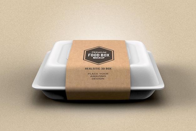 Maquete realista de embalagem de caixa de comida