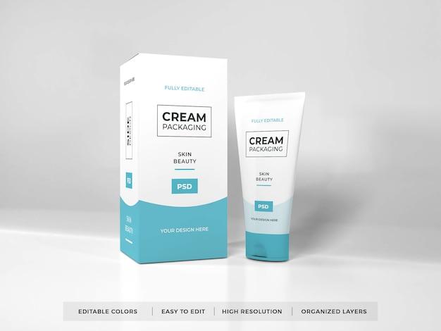Maquete realista de embalagem de creme cosmético