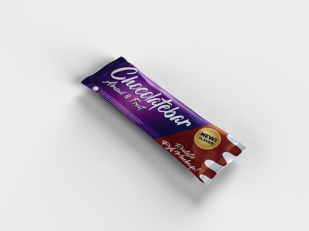 Maquete realista de embalagem de lanche brilhante de barra de chocolate com vista panorâmica