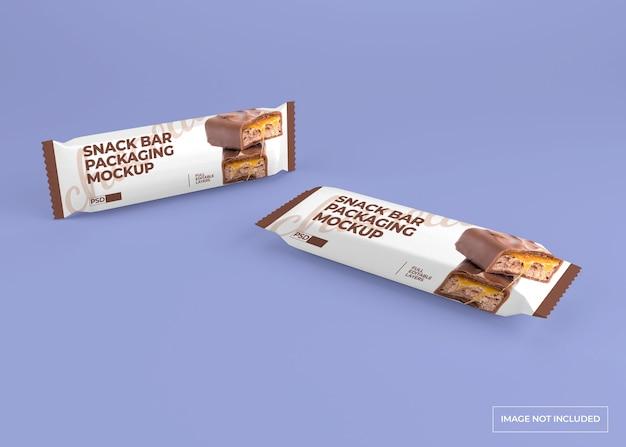 Maquete realista de embalagem de lanchonete de chocolate