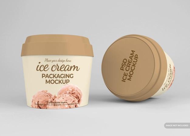 Maquete realista de embalagem de sorvete