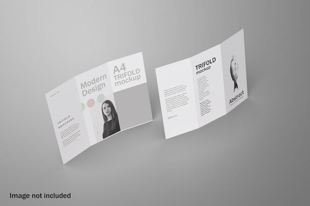Maquete realista de folheto com três dobras