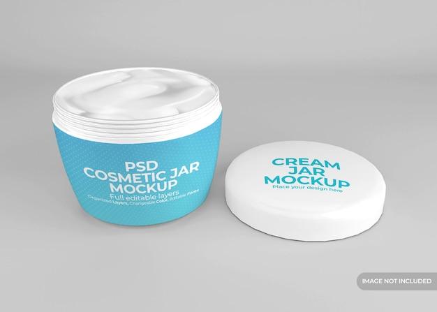 Maquete realista de frasco de creme cosmético de plástico