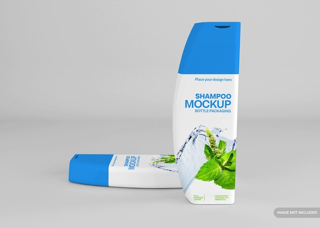Maquete realista de frasco de shampoo cosmético