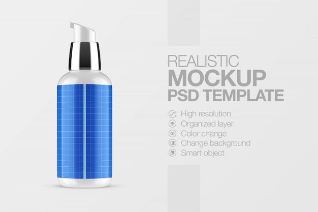 Maquete realista de frasco de spray cosmético