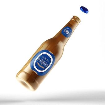 Maquete realista de garrafa de cerveja