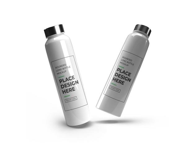 Maquete realista de garrafa de plástico longo