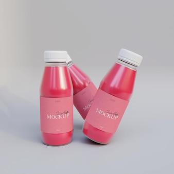 Maquete realista de garrafa de suco