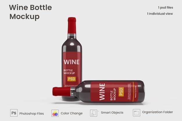 Maquete realista de garrafa de vinho premium psd