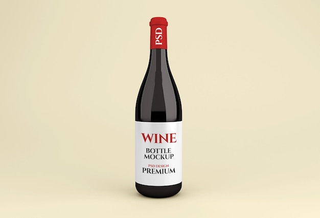 Maquete realista de garrafa de vinho tinto