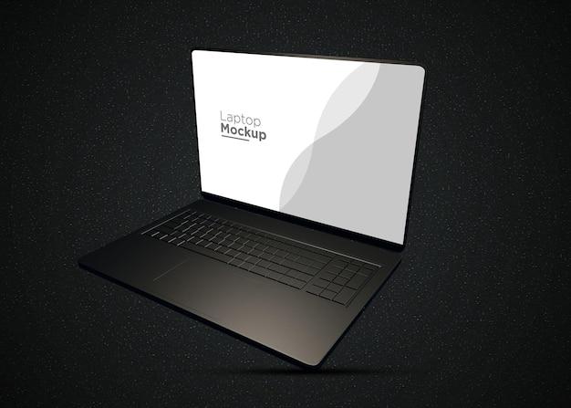 Maquete realista de laptop preto