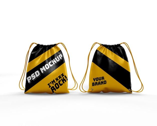 Maquete realista de mochila dinâmica para bolsa com cordão na frente e atrás