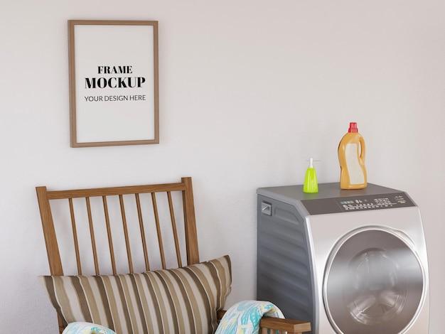 Maquete realista de moldura de foto na lavanderia