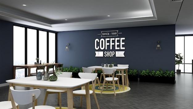 Maquete realista de parede com logotipo 3d na sala do restaurante do escritório