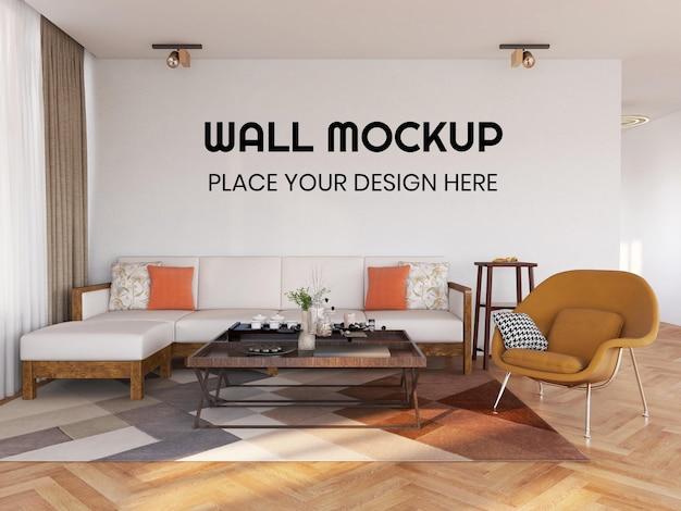Maquete realista de parede da sala de estar interna