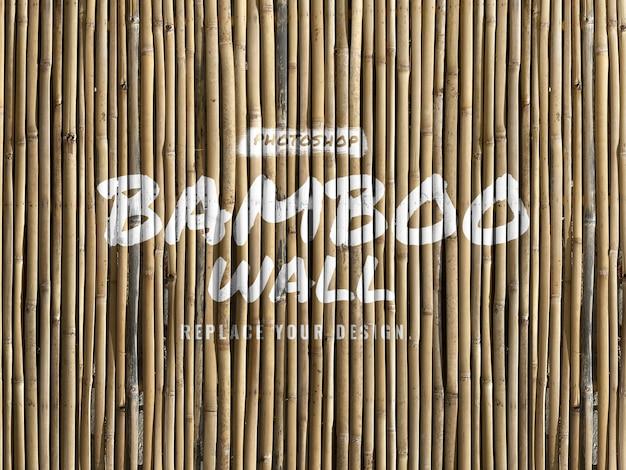 Maquete realista de parede de bambu
