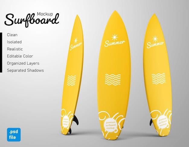 Maquete realista de prancha de surfe de verão personalizada com três variações em vista frontal