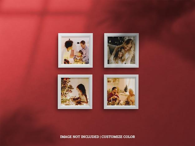 Maquete realista de quatro molduras de celebração de natal em molduras de sombra projetada