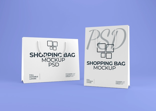Maquete realista de sacola de papel em branco
