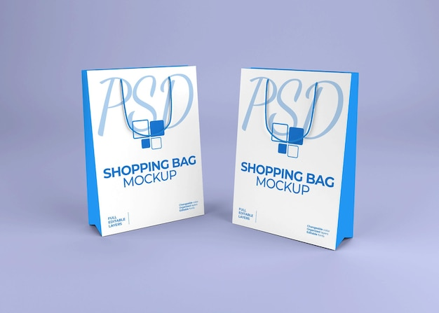 Maquete realista de sacola de papel em branco Psd Premium